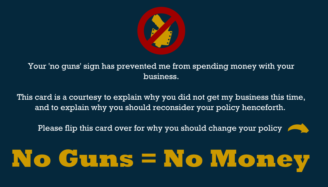 No Guns No Money Business Card Front